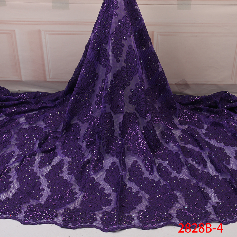 African Lace Fabric  Nigeria Lace Fabric French Lace With Sequins 2019 Newest Wedding Dress Fabric YA2828-4
