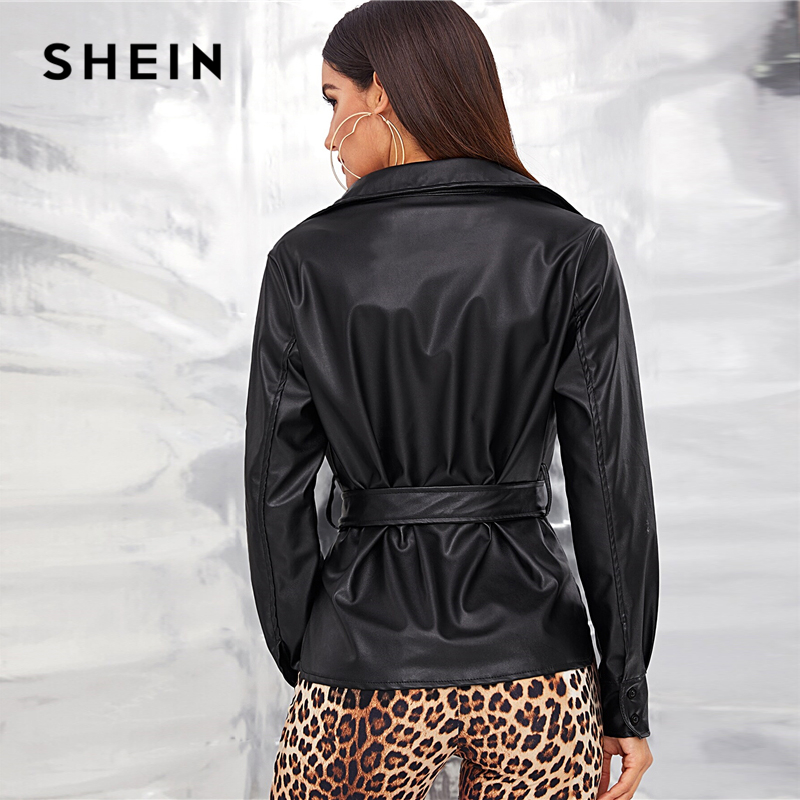 SHEIN Black Single Breasted Belted Faux Leather Jacket Coat Women's Shein Collection
