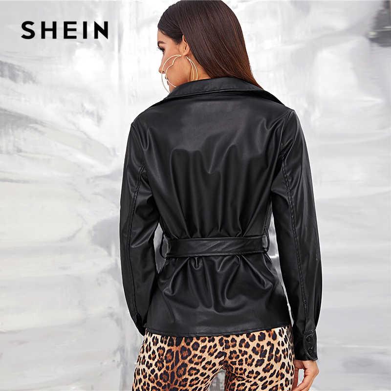SHEIN noir simple boutonnage ceinturé Faux cuir veste manteau femmes automne printemps Split hem solide décontracté moteur Storm PU vestes