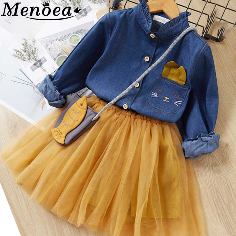 Menoea Children Clothing Suits 2019 Autumn Fashion Style Girl Cowboy Long-Sleeve Mesh Dress Design For 3-8Y Kids Girls Sets