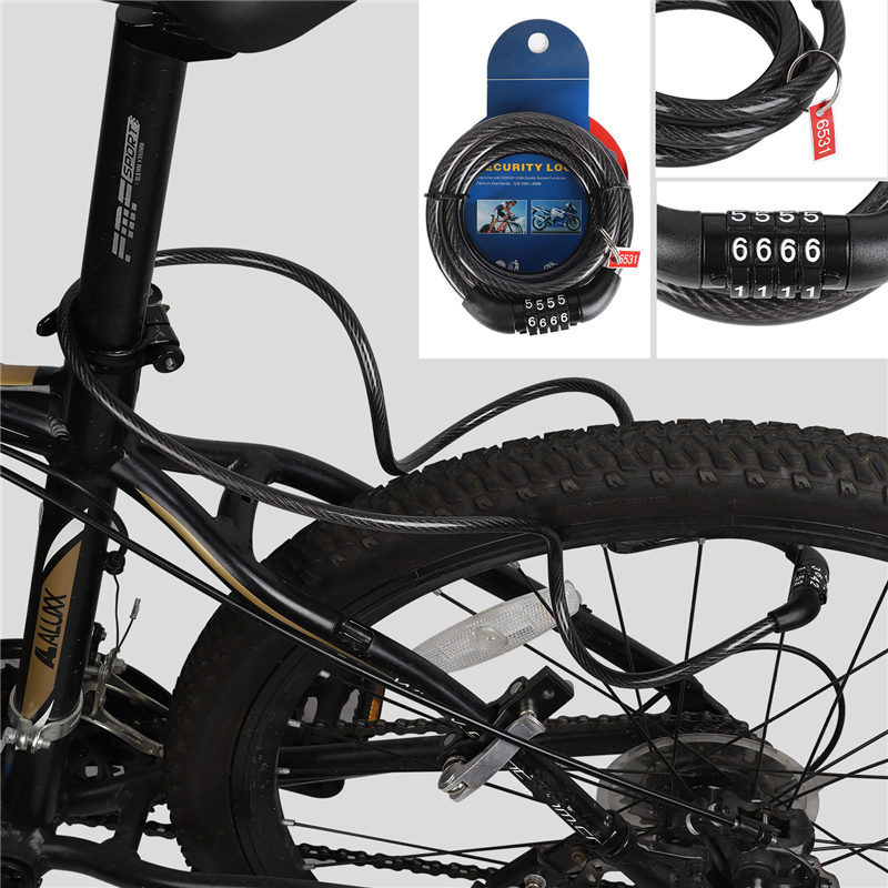 1PC 4 Digit Code Combination Bicycle Security Lock Steel Spiral Cable Heavy Lock