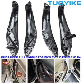 Car Styling Carbon Fiber Front Rear Left Right Interior Door Pull Handle Trim Cover For BMWF30 F31 F32 F34 F35 F36 F80 F82 M3 M4 image