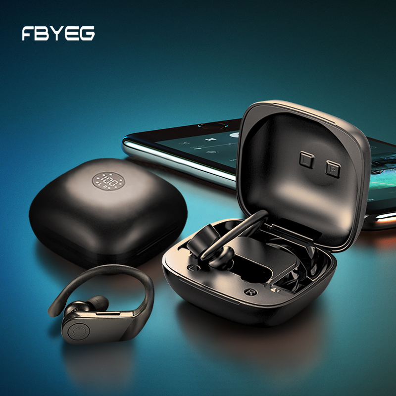 FBYEG TWS Wireless Bluetooth Headphones HiFi HD Headset Sports Waterproof Stereo Bass Earbuds Ear Hook Earphone Handsfree Mobile