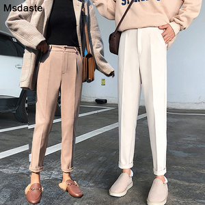 Image 1 - Winter Woolen Pants 2019 New Women Elastic Female Plus Size Casual Trousers Black/Gray/White/Brown Wool Ankle Length Harem Pants