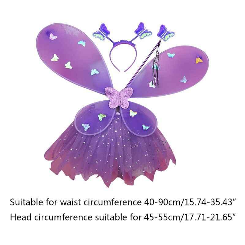 EDCRFV 1 ชุดผู้หญิงบทบาทเล่น Props กระพริบปีก Tutu กระโปรง GLOW Headband Fairy Stick ผู้ใหญ่เด็กคอสเพลย์เครื่องแต่งกาย