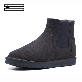 SHUANGGUN Top Quality Fashion snow boots for men lace-up winter shoes real sheepskin leather nature wool fur ankle short boots