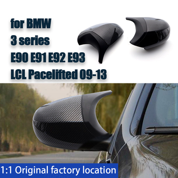 High Quality Carbon Fiber Pattern 2ps Black Facelifted Rearview Mirror Cover Caps M3 Style for BMW E90 E91 E92 E93 LCI image