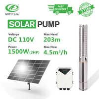 """4 """"DC głębokiej studni pompa wody słonecznej 110V 2HP MPPT kontroler z wirnik ze stali nierdzewnej odwiert moc słońca pod wysokim ciśnieniem"""