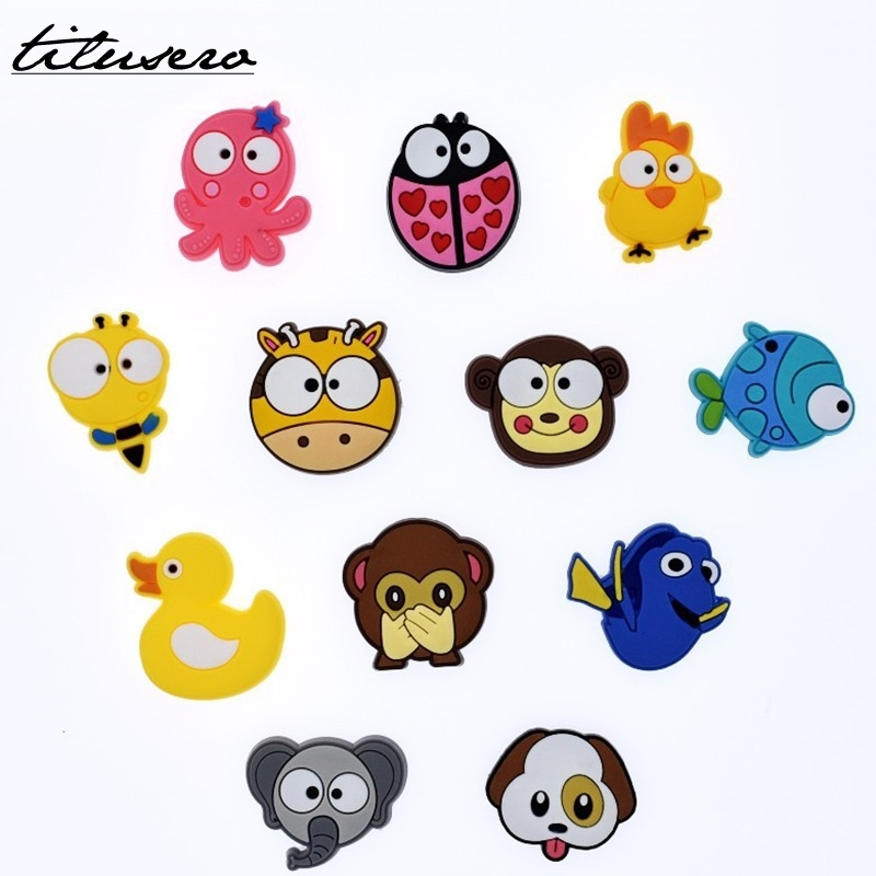 1pcs Cartoon Animals Shoe Charms Shoe Accessories Shoe Decoration For Croc JIBZ/ Wristbands Kids Party Xmas Gift F031