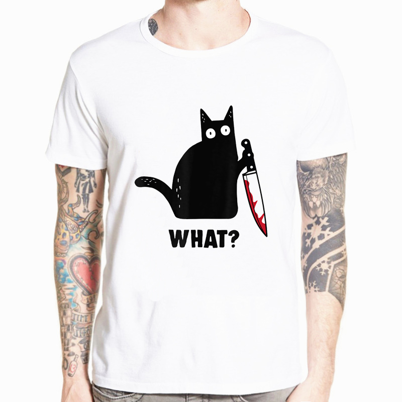 Cat What T Shirt Murderous Cat With Knife Funny Halloween Gift T Shirt T Shirts For Men Funny T Shirts Hip Hop Streetwear Men