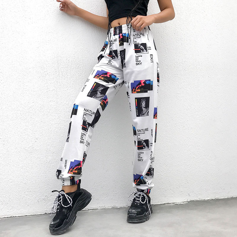 Liva Casual Floral Print Pocket Women's Harem Trousers   Pants     Capris   Streetwear Fashion Loose Elastic Waist Joggers Mujer Female