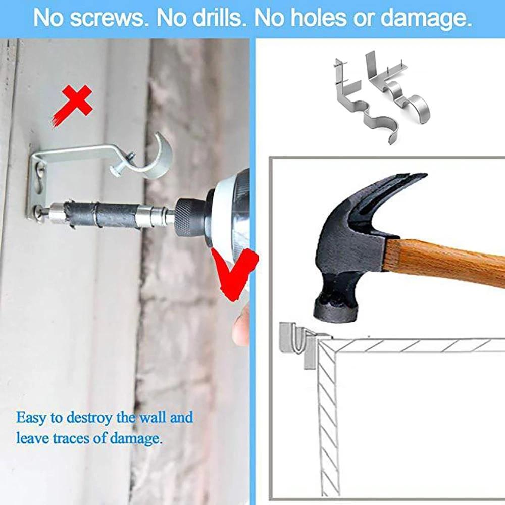 1 pair new curtain rod bracket kwik hang curtain rod holders tap right into window frame curtain rod bracket high quality