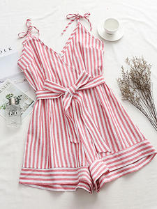 DIMANAF Trousers Playsuits-Pants Sexy Lady Plus-Size Summer Spaghetti-Strap Loose Pink