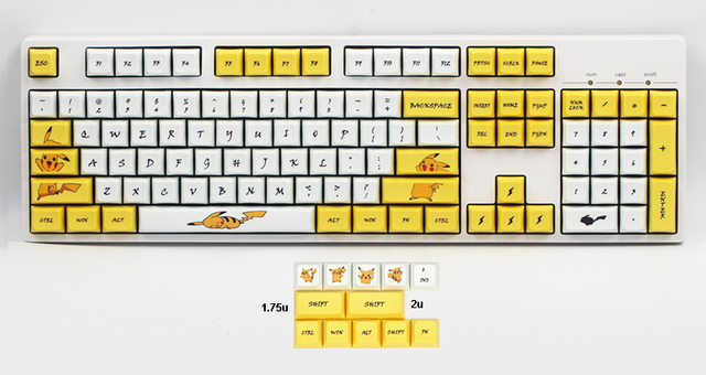 Pikachu XDA Keycaps PBT Dye subbed for Cherry MX Switches of 61 84 87 96 108 XD60 XD64 GK61 GK64 GH60 Poker Mechanical Keyboard