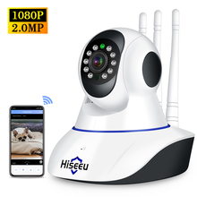 Hiseeu 1080P אלחוטי WIFI IP מצלמה HD 2MP פאן הטיה דו כיוונית אודיו ראיית לילה טלפון App בקרת תנועה זיהוי + TF כרטיס חריץ