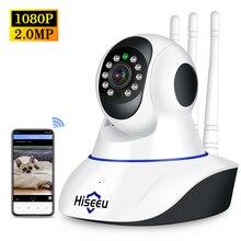 Hiseeu 1080P kablosuz WIFI IP kamera HD 2MP Pan Tilt iki yönlü ses gece görüş telefon APP kontrol hareket algılama + TF kart yuvası