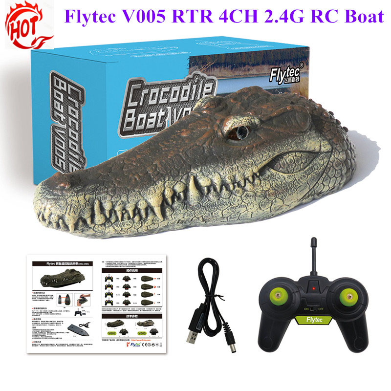 Flytec V005/V002 RTR 4CH 2.4G Electric RC Boat Interesting Simulation Crocodile Head Vehicle Teenager Ship RC Toys For Kids(China)
