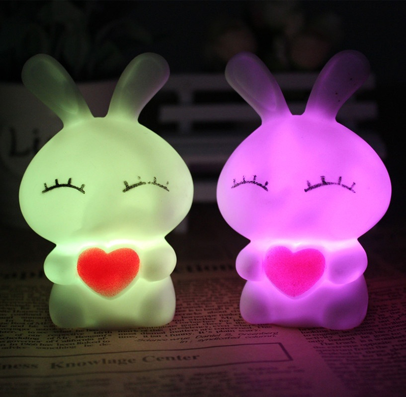 Cartoon Rabbit LED Night Light For Children Gift Color Changing Night Lamp Home Bedroom Wedding Party Decoration 1PC