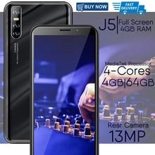 Смартфоны J5 13MP 6,0 дюймов полный Экран уход за кожей лица разблокированный 4 Гб Оперативная память 64 Гб Встроенная память Мобильный телефон ...