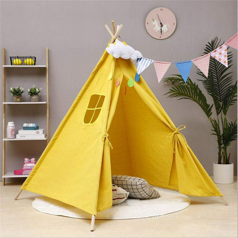 Portable Baby Play Tent Children Playhouse Large Sleeping Dome Crib Netting Indian Canvas Teepee Tent Indoor Outdoor Play House