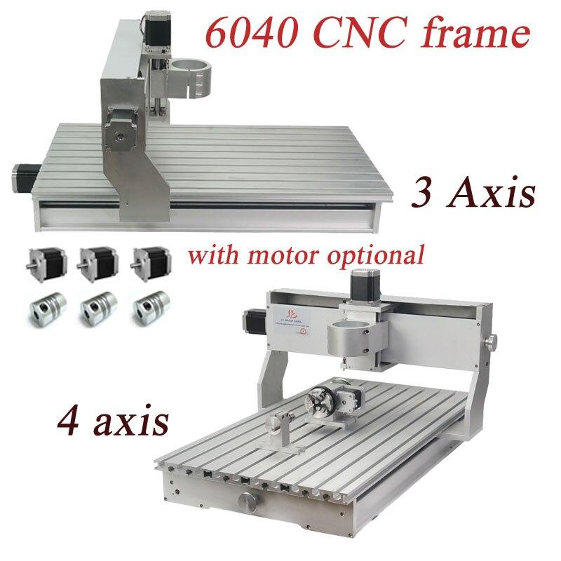 3 4 оси CNC 6040 Фрезерный станок механический шариковый винт CNC рама из алюминиевого сплава для DIY пользователя с комплектом мотора по желанию