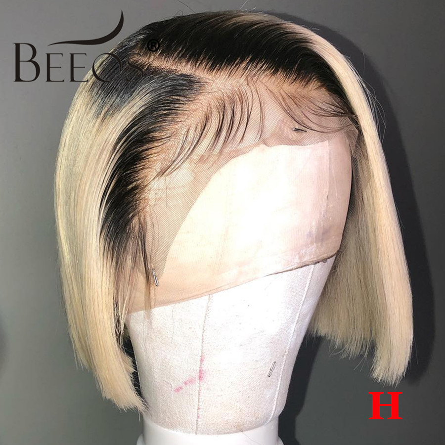 Beeos 150% Ombre Blonde Color Straight Short Bob Lace Front Human Hair Wigs Pre Plucked Brazilian Remy Hair Bleached Knots