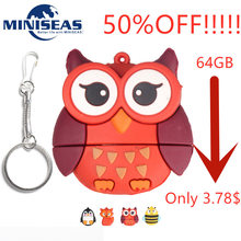 Miniseas Usb Flash Drive Real Capaciteit Pinguïn Fax Uil Bee Vorm 8G/16G/32G/ 64G Pen Drive Memory USB Stick Pendrive Voor PC(China)