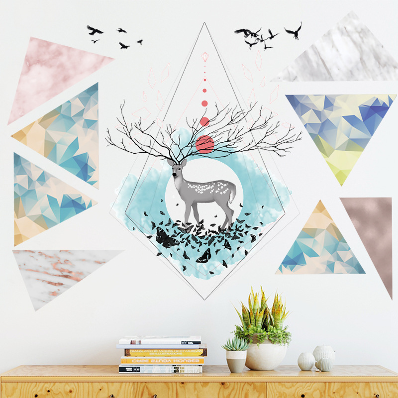 Nordic ins style Triangle Dreamy Mountain Wall Stickers Living room Bedroom Vinyl Wall Decals Creative Home