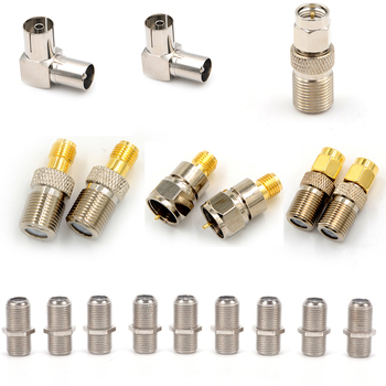 One or 10 Pcs F Type Female Jack To SMA Male Plug Straight RF Coaxial Adapter F Connector To SMA Convertor image