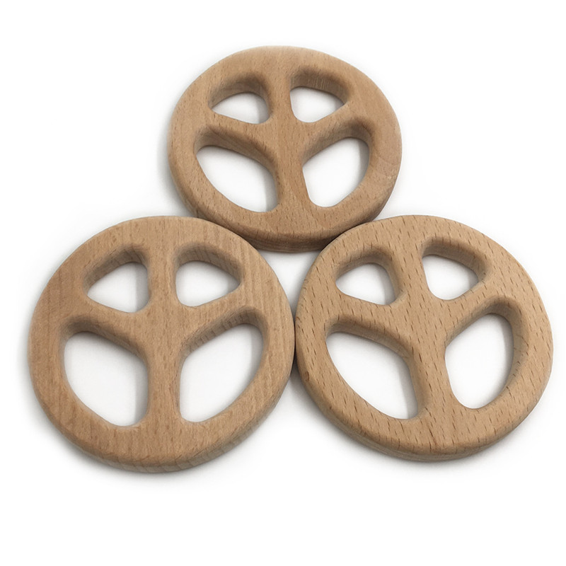 DIY Creative Toy Peace Sign Shape Baby Wooden Teether Food Grade Beech Pacifier Chain 3C Certification Wood Newborn Teether Gift