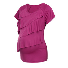Women Maternity Casual Short Sleevele Breastfeeding Clothes Multi-layered Ruffle Nursing Top Casual Pregnant T Shirt Clothes
