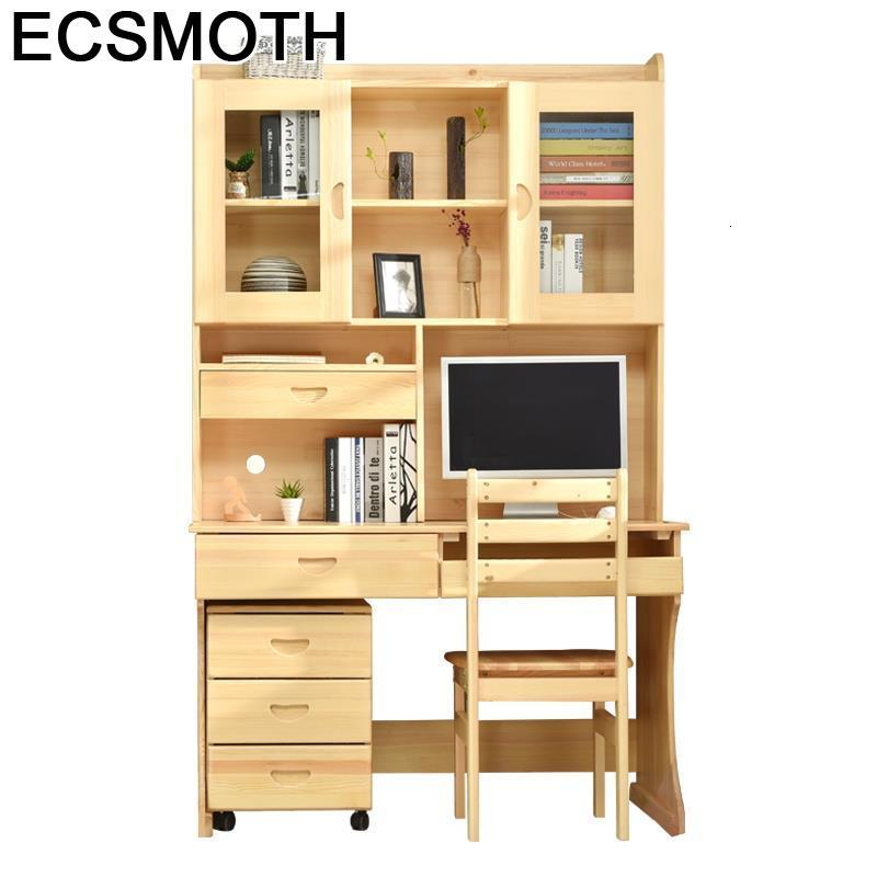Escrivaninha Bed Tray Mesa Escritorio Furniture Lap Office Retro Wooden Bedside Laptop Stand Desk Computer Table With Bookcase