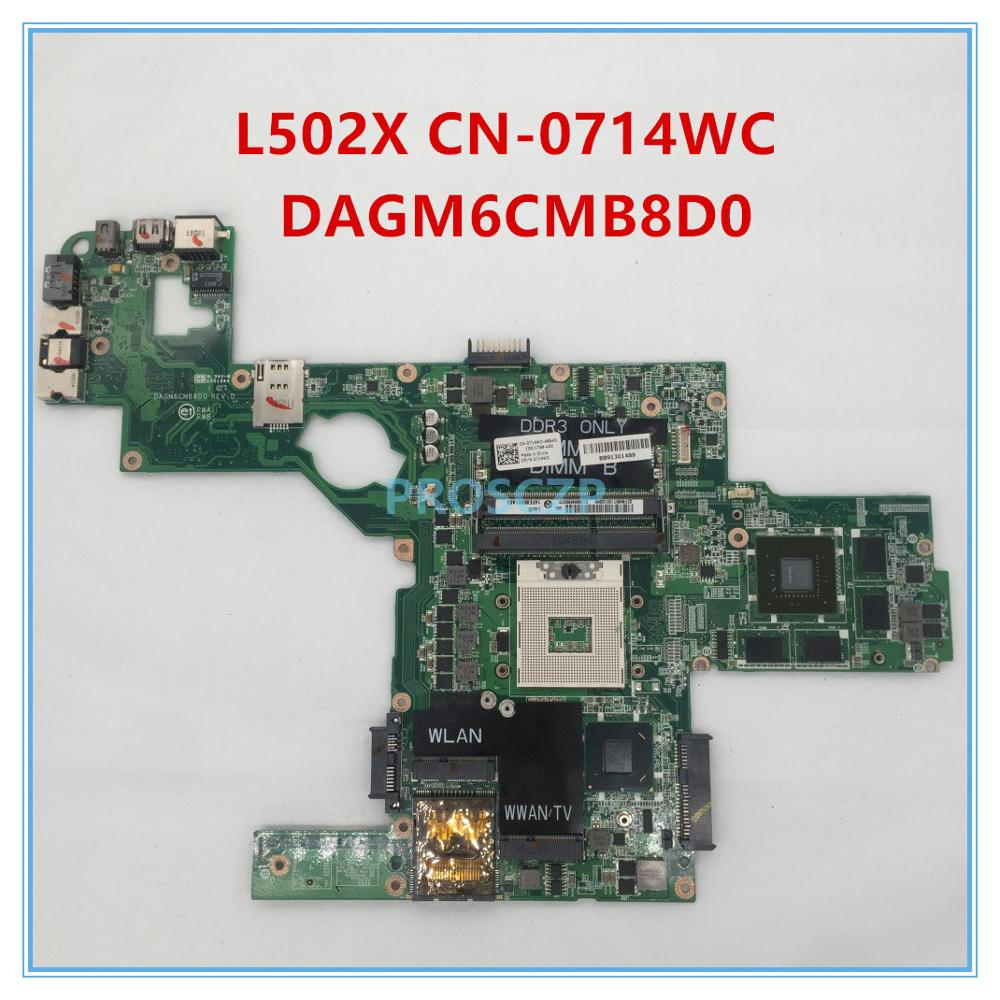 Материнская плата для ноутбука DELL L502X, модель CN-0714WC 0714WC 714WC DAGM6CMB8D0 HM67 GT540/2 ГБ, 100% исправно