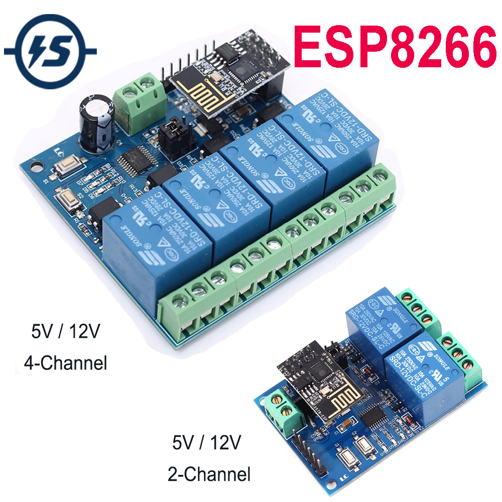 DC 12V ESP8266 /&ESP-01 WIFI Relay Module Four Channels For Intelligent Furniture