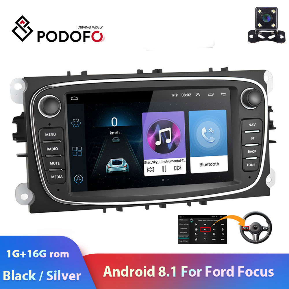 "Autoradio Podofo 2 din 7 ""Android 8.1 Autoradio lecteur multimédia GPS WIFI MP5 IOS Android Mirrorlink pour Autoradio Ford Focus"