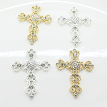 5Pcs/Lot 46mm*65mm Silver Gold Cross Rhinestone Buttons Flat Back for Wedding Decoration Metal Brooch Hair Bow DIY Jewelry Craft