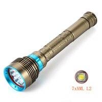 7x XM L L2 LED High lumens Waterproof Diving Flashlight Underwater Waterproof Submarine Light Lamp Flashlight Torch