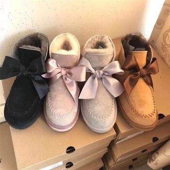 Confortável 2019 botas femininas botas de inverno clássico moda quente marca botas de neve de couro genuíno para mulher sapatos botas mujer