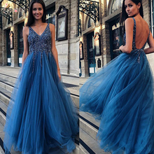 New Arrivals Elegant A Line V Neck Prom Dresses Long 2019 Beading Crystal Backless Guest With Sash TX001