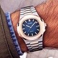 Novo dois tons de ouro patek relógio nautilus 5711 designer natação relógio masculino cinta de aço moda casual venda quente aaa luxo relógios