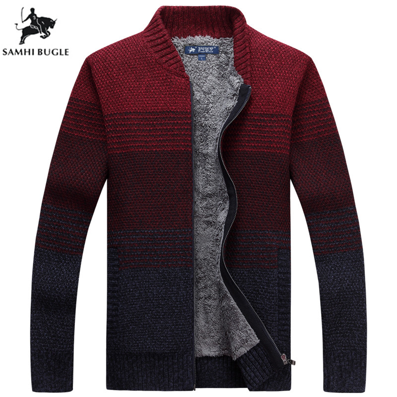 Mens Sweaters for 2019 Autumn Winter Warm Thicken Stripe Splicing Sweater Men Fashion Zipper Cardigan Wool Sweater Men