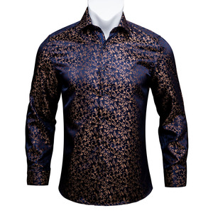 Image 1 - Barry.Wang Gold Soft Silk Shirts Men Autumn Long Sleeve Casual Flower Shirts For Men Suit Party Designer Fit Dress Shirt BCY 06
