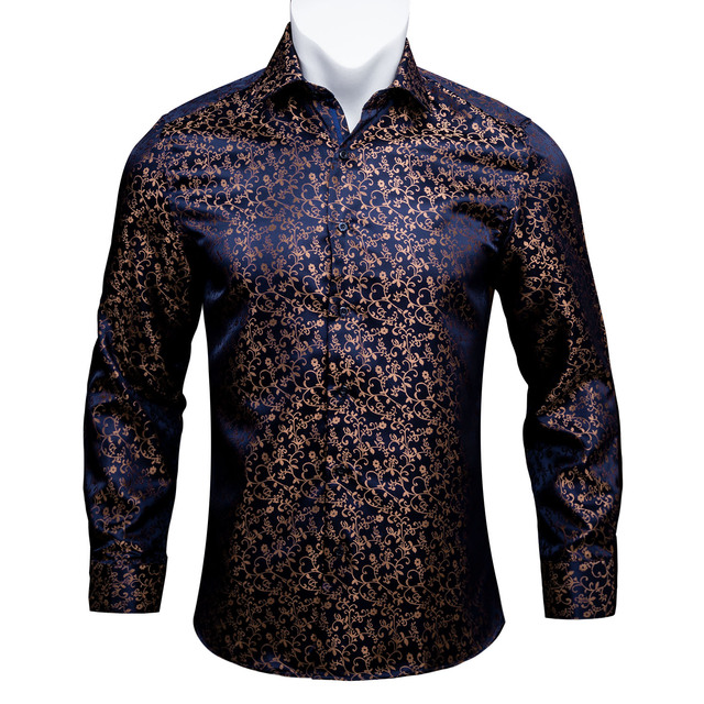 Barry.Wang Gold Soft Silk Shirts Men Autumn Long Sleeve Casual Flower Shirts For Men Suit Party Designer Fit Dress Shirt BCY 06