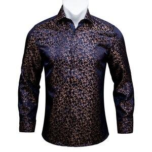Image 1 - Barry. wang Gold Weiche Seide Shirts Männer Herbst Langarm Casual Blume Shirts Für Männer Anzug Party Designer Fit Kleid Hemd BCY 06