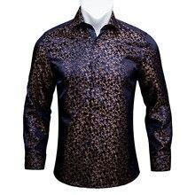 Barry. wang Goud Zachte Zijde Shirts Mannen Herfst Lange Mouw Casual Bloem Shirts Voor Mannen Pak Party Designer Fit Shirt Dress BCY 06