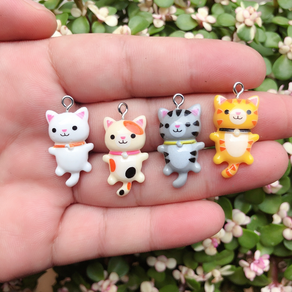 10pcs/pack Kawaii Cat Charms Pendants for Jewelry Making Animal Resin Charms Jewlery Findings DIY Craft 1