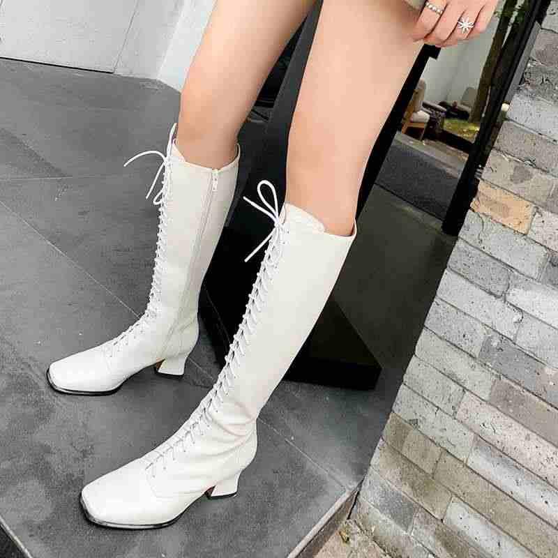 Krazing Pot zarif İngiliz tarzı moda lace up boots kare ayak yüksek topuklar kış sıcak kadınlar yan zip uyluk yüksek çizmeler L66