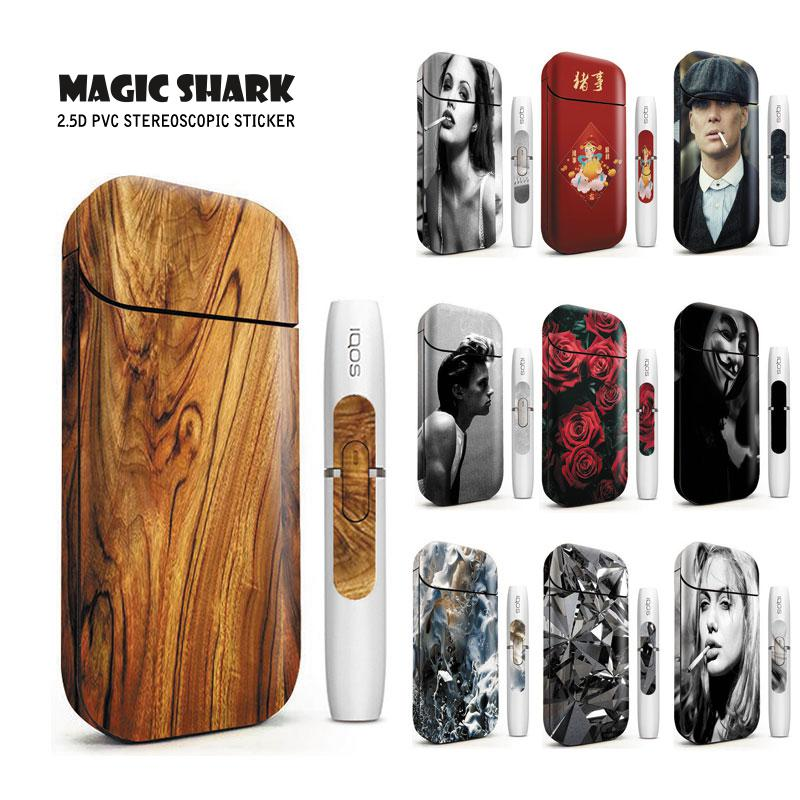Magic Shark Flower Rose Lady Wood Print Stereo Film Sticker For IQOS 2.4 Plus Cover Case For IQOS 2.4p Vape