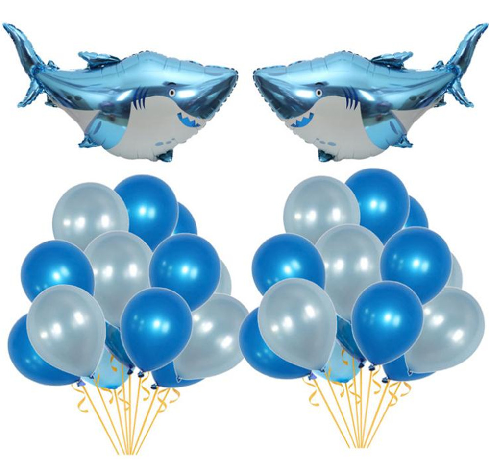 Cartoon Hat Big Blue Shark Balloons Boy Animal Theme Baby Shark Birthday Party Decoration Baby Shower Boy Ocean Party