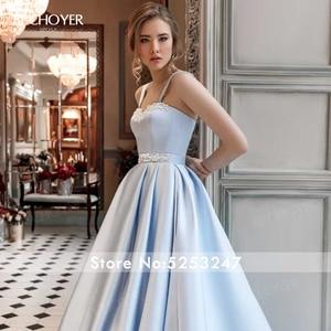 Image 4 - BECHOYER מתוקה חרוזים סאטן חתונת שמלת כחול ללא שרוולים אונליין כיסים משפט רכבת המפלגה הכלה שמלת Vestido דה Noiva AC01